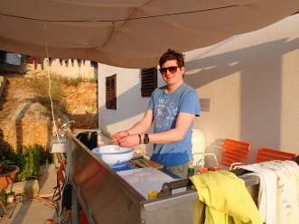 The outdoor kitchen was brilliant